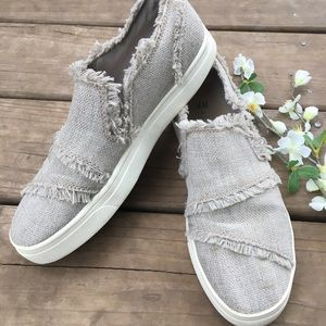 H&M frayed canvas slip ons. Size 9.5.